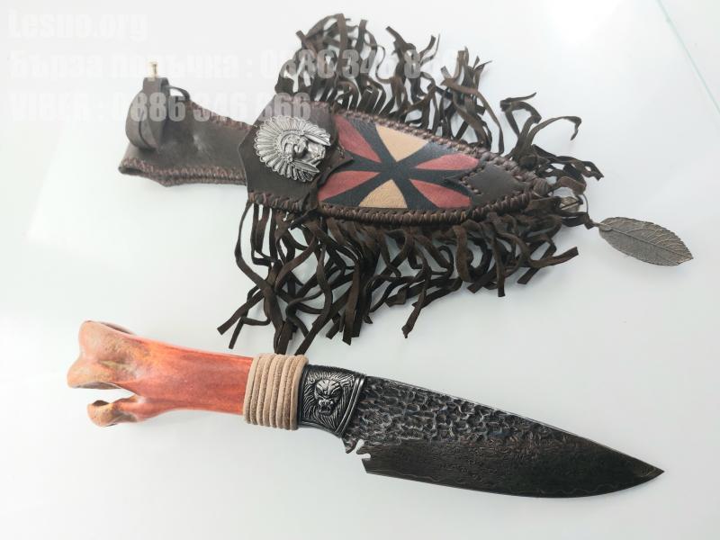 Ловен нож ръчно направен от дамаска стомана и кост от щраус
