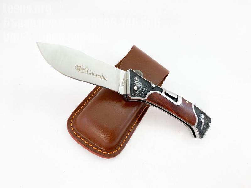 Сгъваем джобен нож с кожен калъф за колана Columbia A3206