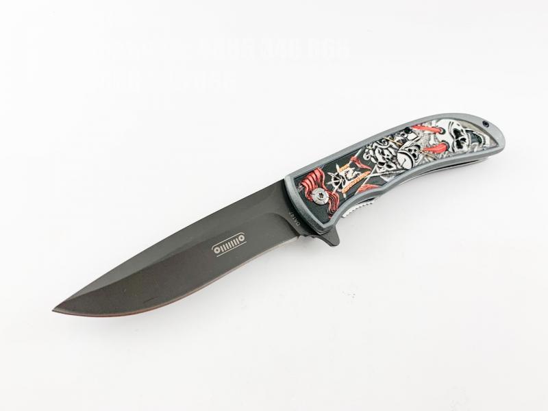 Сгъваем автоматичен нож Browning DA147 с 3D снимка на черепи