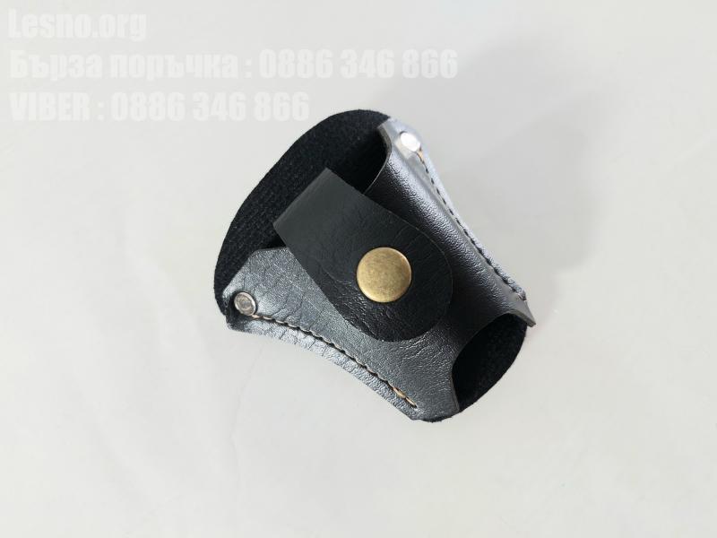 Кожен калъф черен цвят за носене на колана