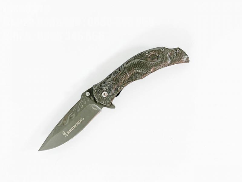 Сгъваем автоматичен нож метален с 3D картина на дракон Browning B063C