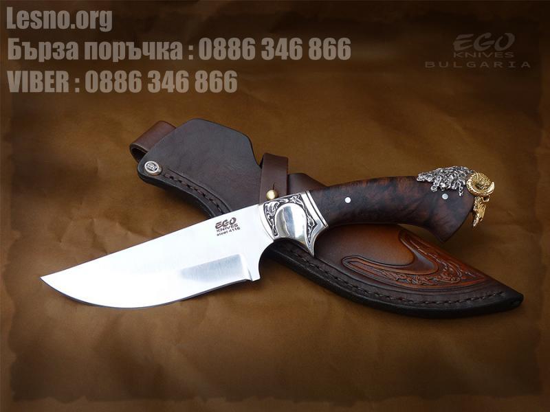 Ловен нож  с гард и апликация от Бронз