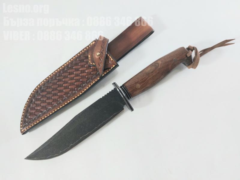 Ловен тактически нож ръчно направен от дамаска японска стомана махагонова дръжка