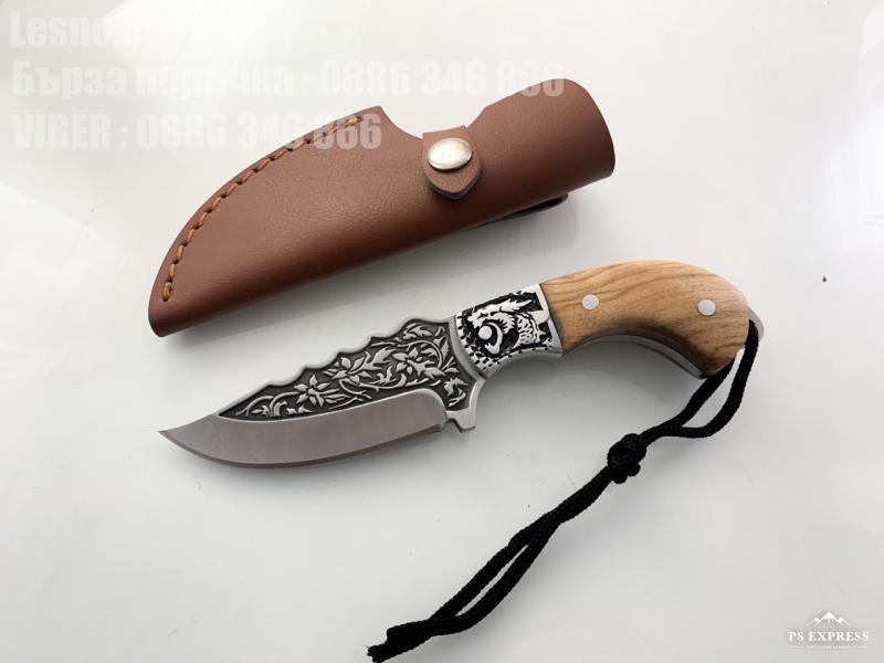 Ловен нож  подходящ за дране от цяло парче стомана с гравиран Тигър на гарда