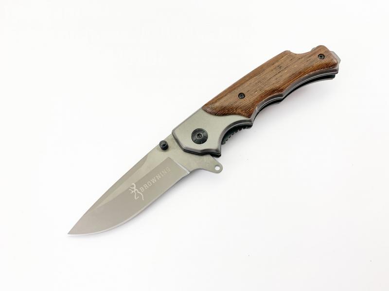 Сгъваем автоматичен нож Browning с дървени чирени