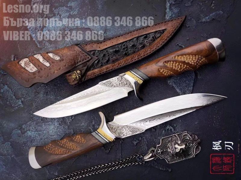 Ръчно направен ловен нож от дамаска стомана с VG 10 сърцевина и махагонова дръжка