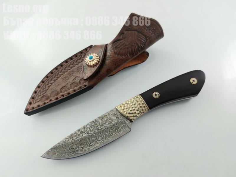Ръчно направен ловен нож от японска дамаска стомана с VG 10 сърцевина  месингов гард фултанг
