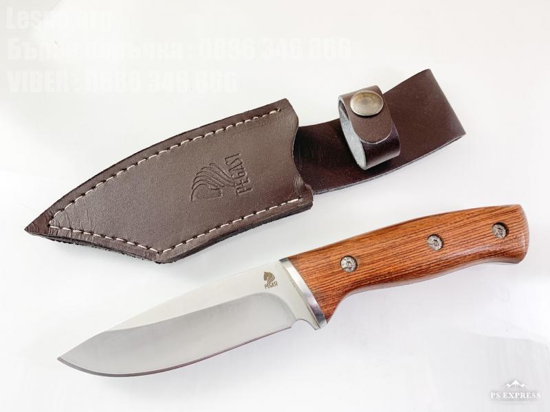 Ловен нож масивен с кожен калъф фултанг Pagasi steel 9CR18MOV