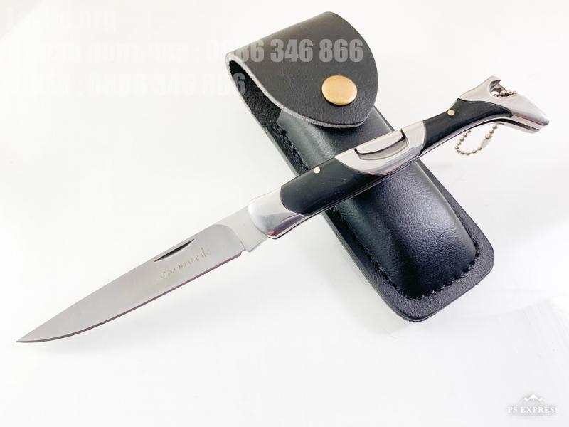 Руски  стилен сгъваем джобен нож с кожен калъф Охотник форма на дамски ботуш