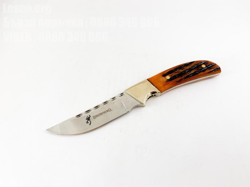Ловен нож с дръжка от еленов рог и бронзов гард Browning