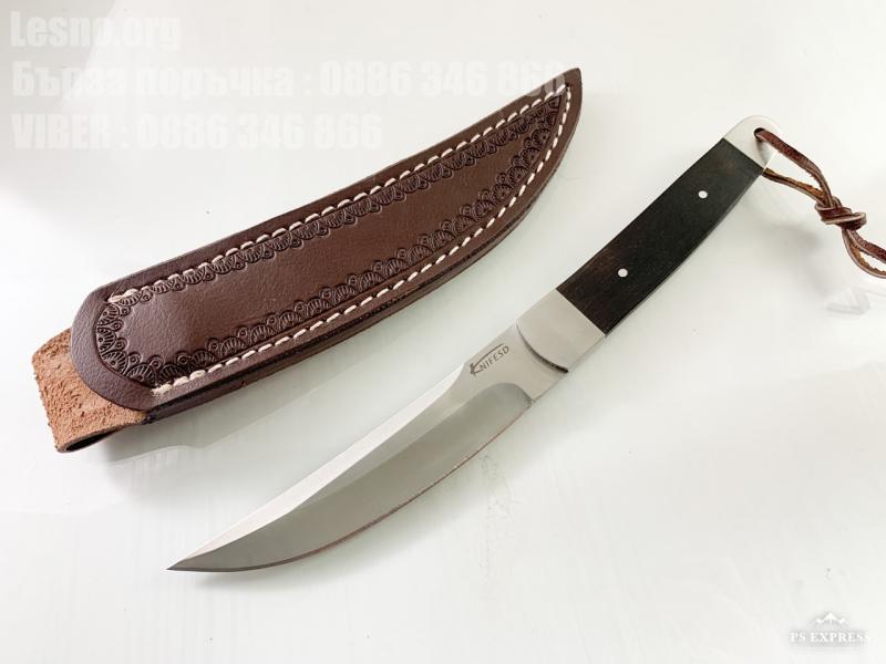 Ловен нож с кожена кания и извито острие KnifeSD подходящ за къмпинг и туризъм