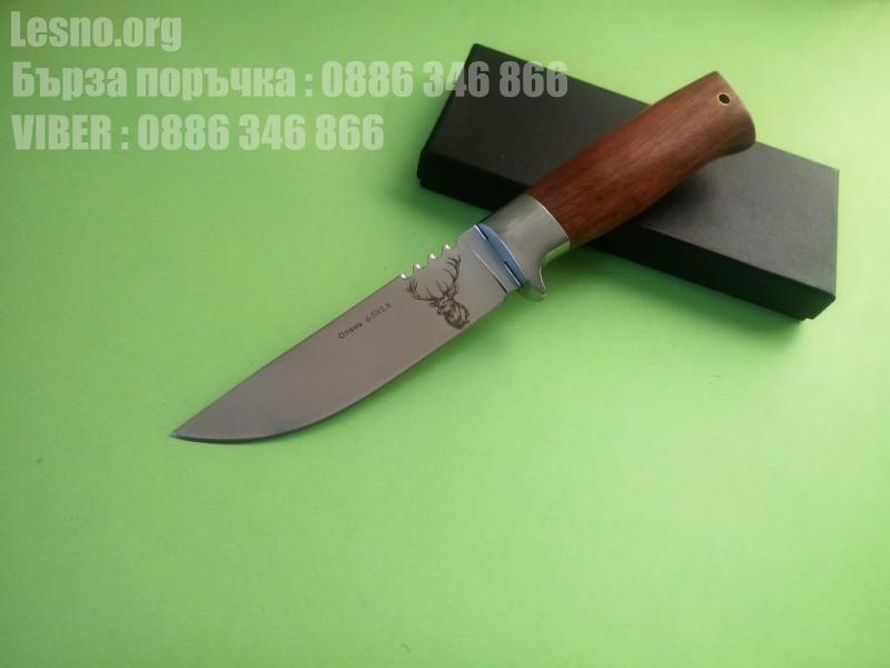 Руски ловен нож с гравиран Оленъ на острието-стал 65х13