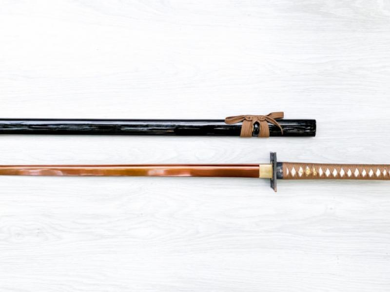 Самурайски меч катана танто,Tanto черен калъф карбонова стомана кафяво острие