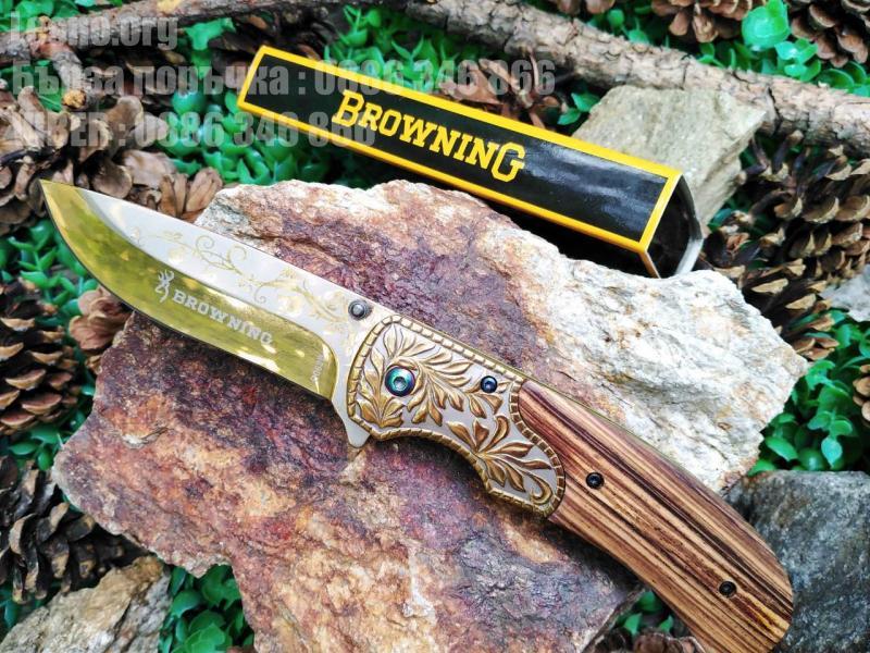 Сгъваем автоматичен нож Browning  B062B с метален гард флорални елементи