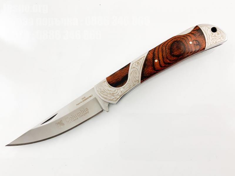 Сгъваем джобен нож голям и масивен с дървени чирени Columbia 260А