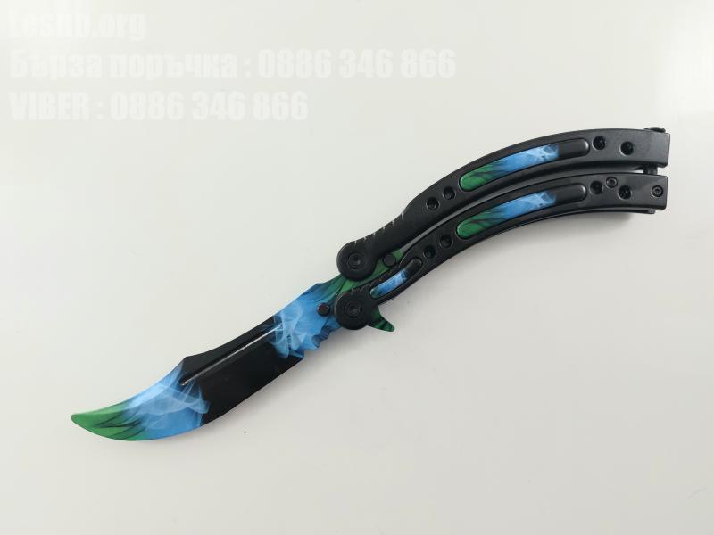 CS GO - Сини пламъци нож пеперуда за тренировка начинаещи незаточен