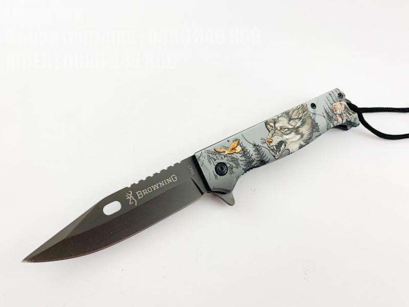 Сгъваем автоматичен нож с принт 3D Вълк на дръжката Browning FA47