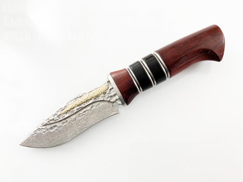Ловен нож ръчно направен от дамаска японска стомана и бронзов елемент