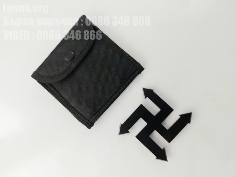 Шурикен звезда с калъф черен цвят пречупен кръст с четири остриета/върха