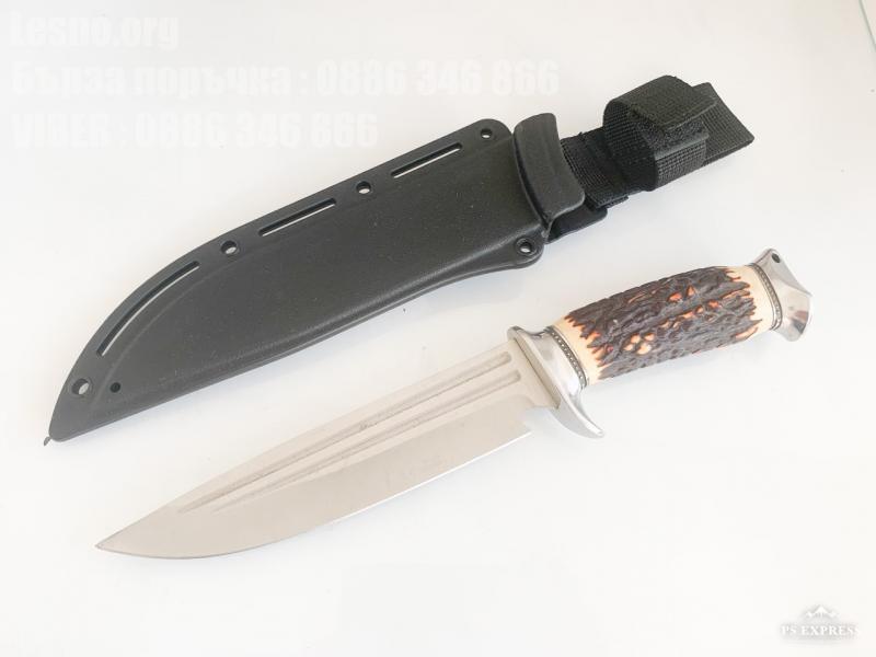 Sanjia hunting knife Ловен нож с Kydex калъф с дръжка еленов рог