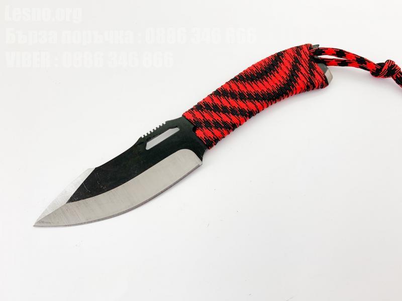 Ловен нож с дръжка от паракорд и частично тефлоново покритие на острието