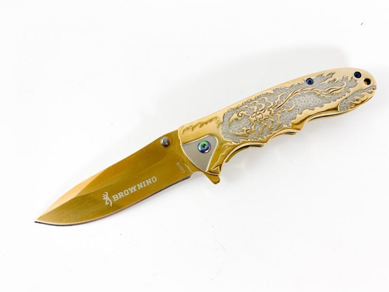 Сгъваем автоматичен нож Browning  C021B с метален гард флорални елементи златист