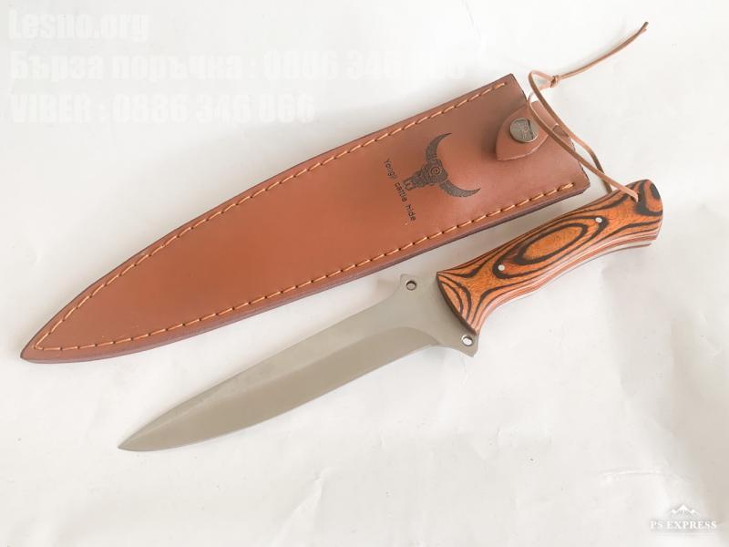 Ръчно направен ловен нож фултанг с кожена кания тип кама