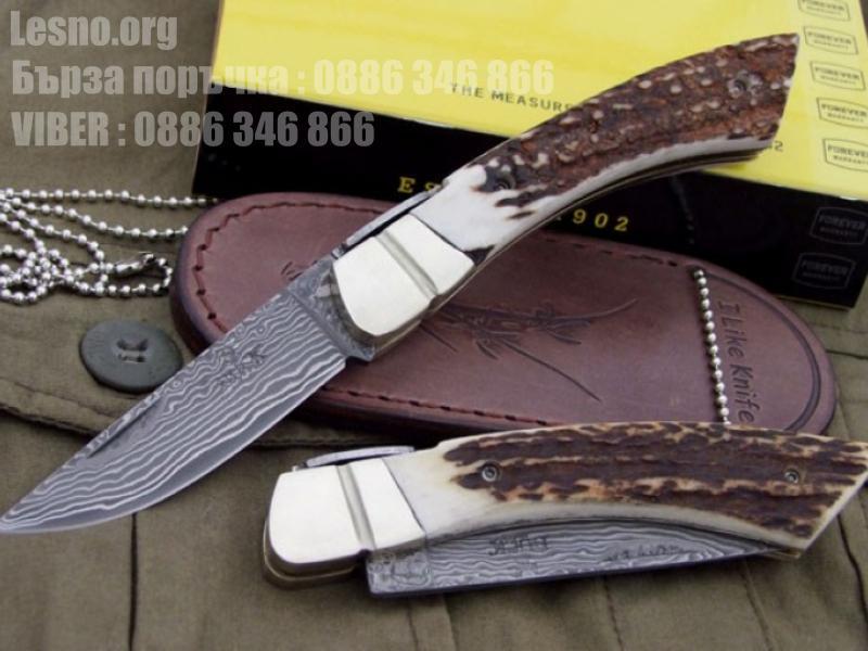 Сгъваем джобен нож от дамаска стомана с дръжка еленов рог-Buck