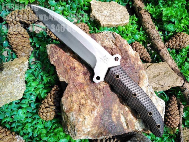Ловен нож от масивна закалена стомана и дървена кания с клипс за колан- Fox knifes