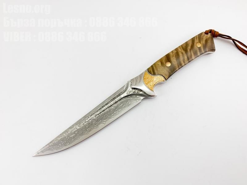 Ръчно направен ловен нож от дамаска стомана с VG 10 сърцевина фултанг