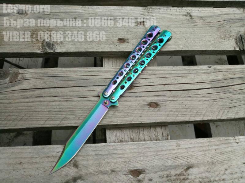 Нож пеперуда остър цвят хамелеон с клипс за носене на колан №2