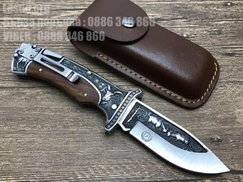 Сгъваем джобен нож с кожен калъф за колана Columbia A3191