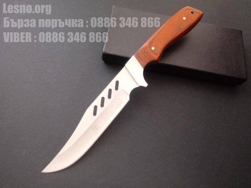 Бюджетен ловен нож от закалена неръждаема стомана с удобна дървена дръжка columbia