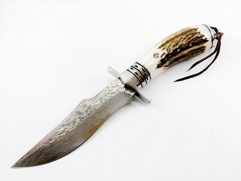 Ръчно направен ловен нож от дамаска стомана дръжка от еленов рог