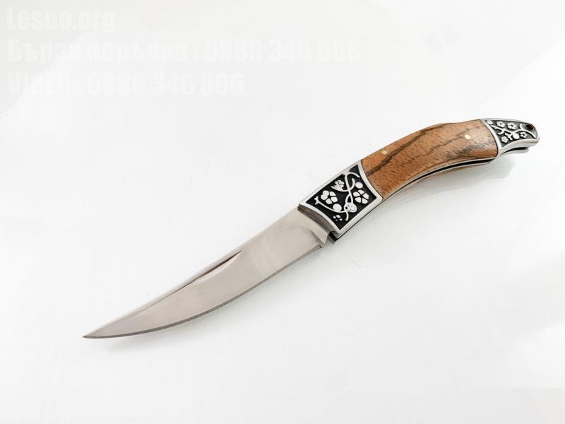 Стилен сгъваем джобен нож с леко извито острие и кожен калъф Browning