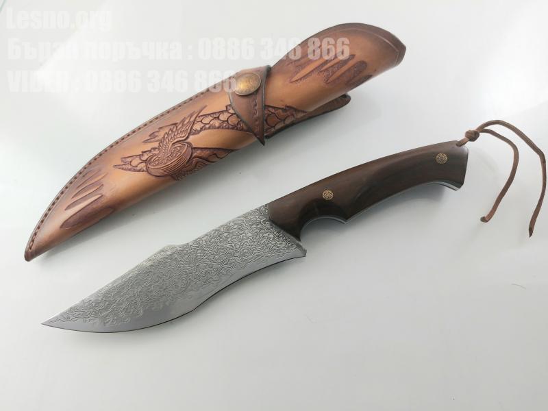 Руски ловен нож от дамаска стомана фултанг с кожена кания