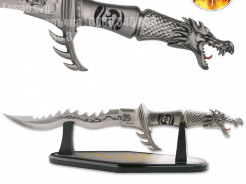 Голям колекционерски ловен нож форма на Дракон с пламаци