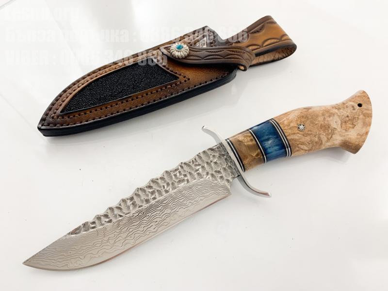 Ловен нож от дамаска стомана и дръжка от махагон