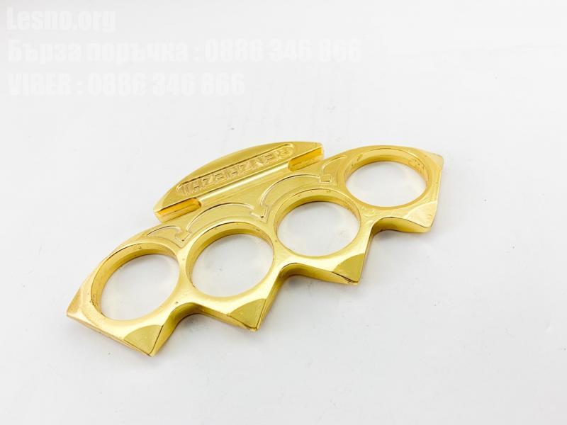 Масивен голям метален Бокс златист цвят с дължина 14 см