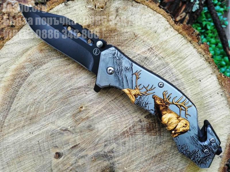 Сгъваем автоматичен нож с 3D print Благороден  Елен,резец за въжета и шип