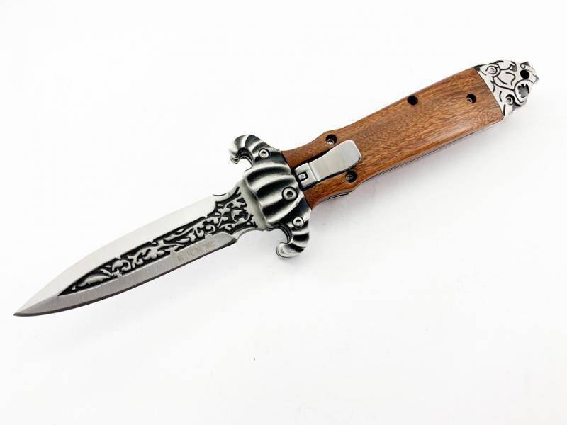 Сгъваем автоматичен нож тип кама с клипс - Buck с инкрустиран тигър в задния гард на дръжката