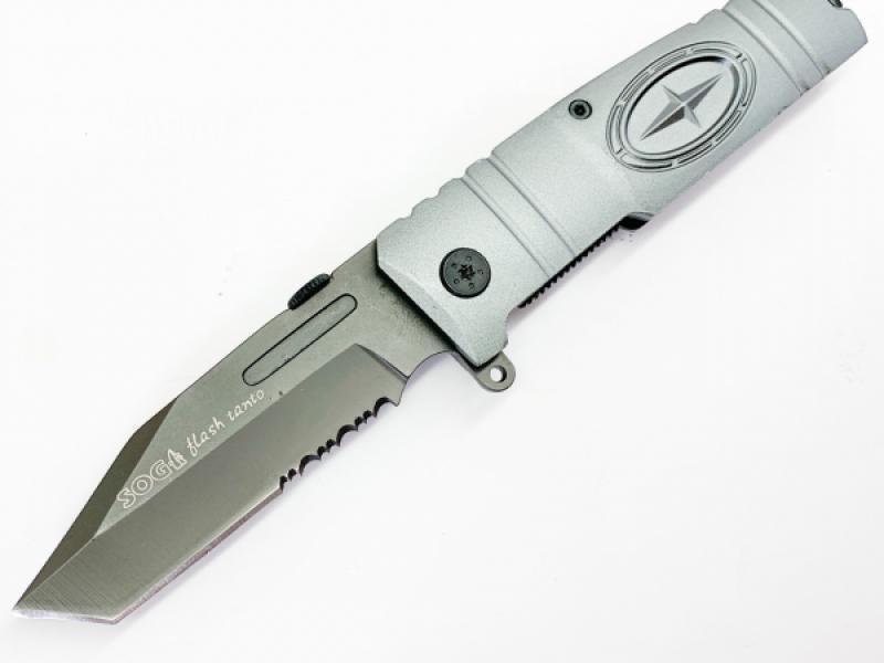 Сгъваем автоматичен нож Sog flash tanto 1/2 серетирано острие