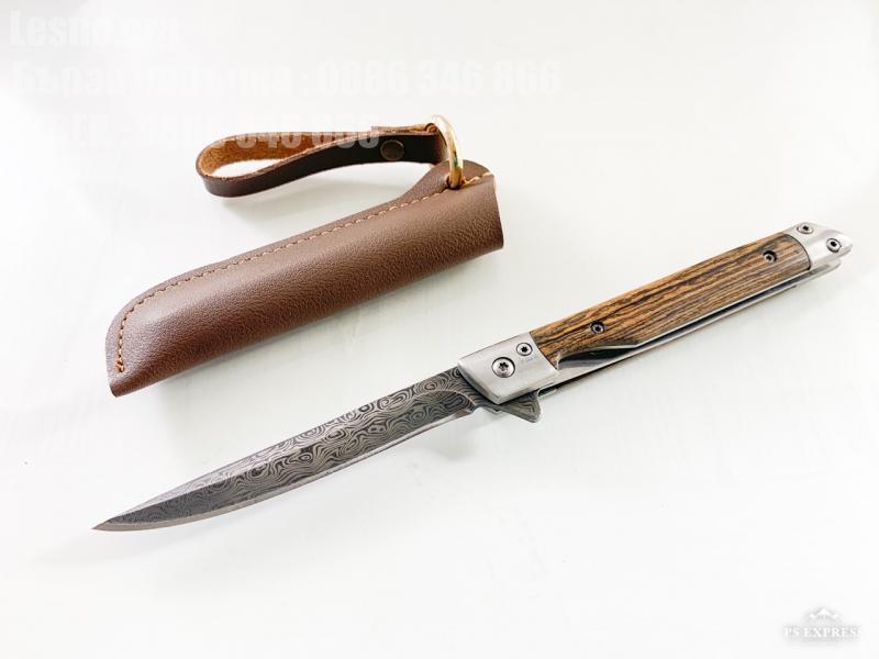 Сгъваем джобен нож с дървени чирени шарка имитираща дамаска стомана