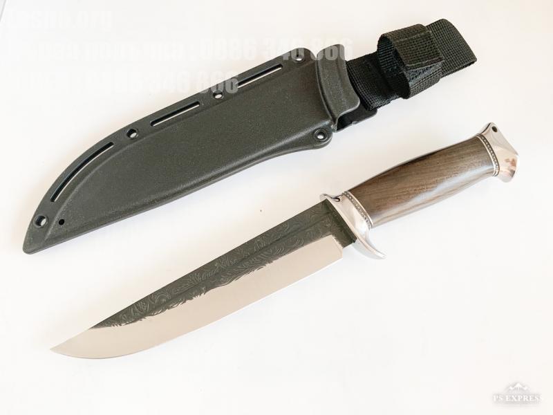 Sanjia hunting knife Ловен нож с Kydex калъф с два метални гарда и флорални елементи на острието