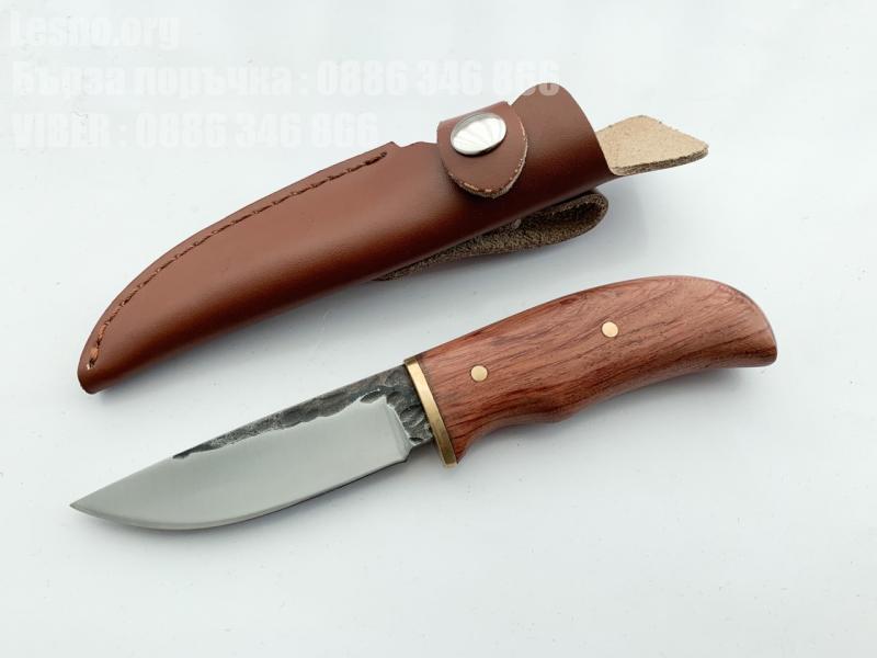 Малко джобно ножче с фиксирано острие ръчна изработка с кожен калъф за носене на колана