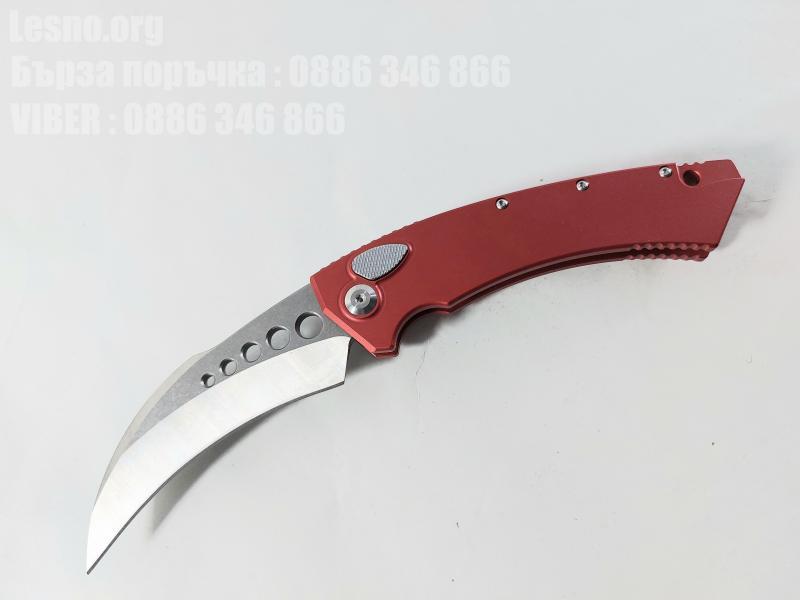 Сгъваем автоматичен нож- Run Hawk - извито острие тип карамбит, червени алуминиеви дръжки