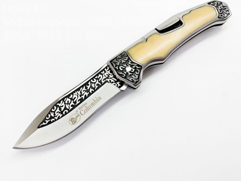 Сгъваем джобен нож с чирени от бял кориан Columbia B3154