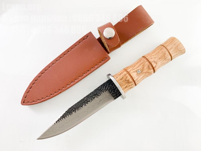 Ръчно кован ловен нож със шарка имитираща дамаската стомана
