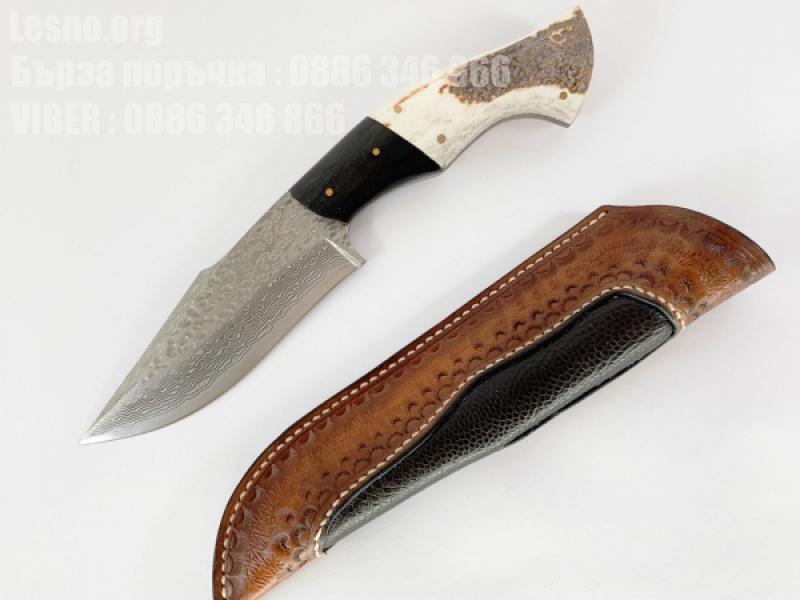 Ръчно направен ловен нож от дамаска стомана с VG 10 сърцевина дръжка от елонов рог,фул танг конструкция