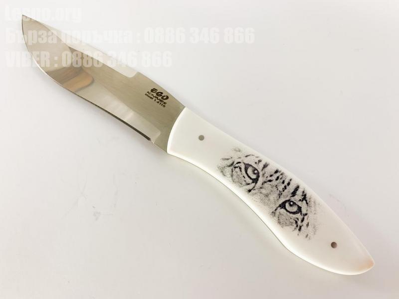 Ловен нож Ръчно направен с дръжка от бял кориан